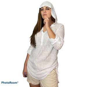 Billabong White Henley Neck Hooded Tunic Blouse M